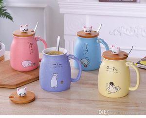 3D 만화 세라믹 컵 고양이 머그컵 대나무 뚜껑 숟가락과 커피 잔 귀여운 애완 동물 크리스마스 행운의 컵