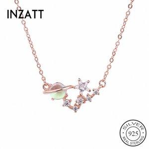 INZATT Real 925 Sterling Silver Pink Planet Zircon Star Bohême Pendentif Collier Pour La Mode Femmes Fête D'anniversaire Fine Jewelry