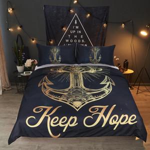 3 Pcs Golden Anchor Duvet Cover Set With Pillowcase Retro Bedding Set King Size Luxury Soft Microfiber Quilt Cover