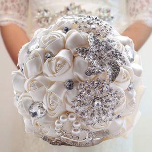 Flores artificiales decoración de la boda de novia de raso crema de Rose Ramo de la boda de novia dama de Cuentas mano que sostiene el Broche Flores CPA1543