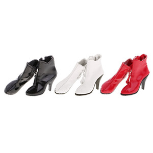 1 6 Scale PU Leather Female High Heels Ankle Boots Shoes for 12'' Action Figure Dolls Outfit Dollfle Dress Up Dolls Accessory
