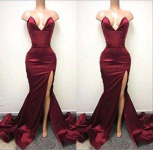 Bourgogne sexy sirène côté fente robes de soirée de bal sweetheart dos nu robe de soirée formelle robe de soirée