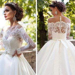 Sexy Lace Wedding Dresses with Long Sleeves Sheer Crew Neck Appliques Button Back Satin A line Bridal Gowns