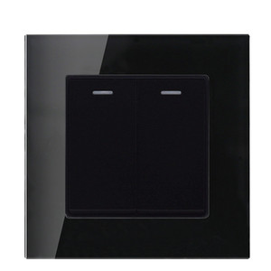 Glass panel Black color 2 Gang 1 way   2 way wall switch and 10A 220-250V lamp switch and light switch