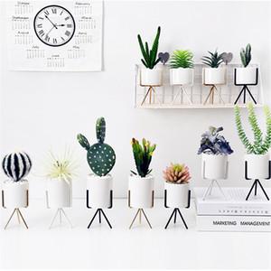 Schmiedeeisen Rahmen Blumentopf Stand Keramik Hydroponischen Minimalismus Blumentöpfe Grün Pflanzer Set Metall Stil Fleischigen Blumentopf 16qh jj