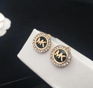 Toptan Yüksek Kalite Kristal Emaye Küpe Marka Mektupları Micheal Kulak Studs Yuvarlak Dangle Bırak Küpe Kadınlar Kız Düğün Takı