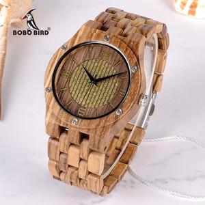 BOBO PÁSSARO 2018 nova chegada relógio de pulso zebra quartzo relógios de madeira homens China fornecedor Personalizado Relógio para Unisex