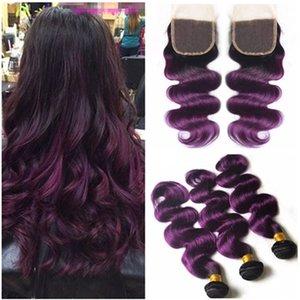 Перуанский Ombre фиолетовый человеческих волос ткет расширения с закрытием боди-Вэйв 1B/фиолетовый Ombre 4x4 кружева топ закрытие с 3Bundles 4 шт. лот