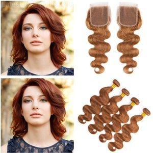 Vierge brésilienne rouge brun cheveux humains 4 offres Bundles avec fermeture vague de corps # 30 moyen Auburn 4x4 fermeture de dentelle avant avec tissages