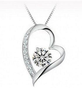 Cristal austriaco Diamantes Love Heart Colgante Collar Llamativo Collares de Cristal de Moda Love Heart Necklace Joyería de Swarovski Elements