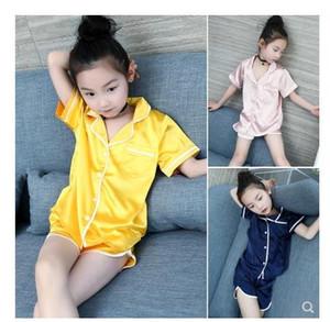 2018 новый летний Шелковый лед чувство костюм дети с короткими рукавами пижамы девушки домашняя одежда для 4-12 лет