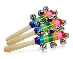 Горячие продажи мультфильм детские погремушки Радуга погремушки с колокол деревянные игрушки Орф инструменты образовательные игрушки большой подарок для детей Оптовая