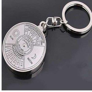 50 Years Perpetual Calendar Llavero llavero aleación de plata llavero anillo Keyfob 6RMA