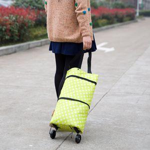 Usine en gros pliage sac remorqueur panier shopping mode polka dot ménage à deux fins chariot sac à provisions