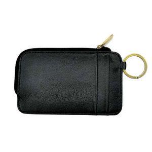 GENODERN Slim Card Holder with Key Ring Monedero de los hombres Titulares de la tarjeta de crédito para el coche Key Genuine Leather Zipper Card Wallet