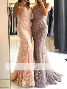 Robes de bal sirène sans manches élégantes sangles spaghettis appliques de dentelle robes de soirée robes de soirée formelle backless