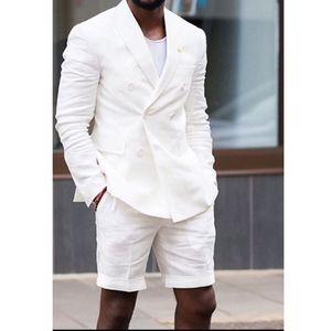 White Linen Costumes Homme avec Blazer double boutonnage pantalons courts Deux pièces d'été style décontracté Homme Veste de mariage smokings marié