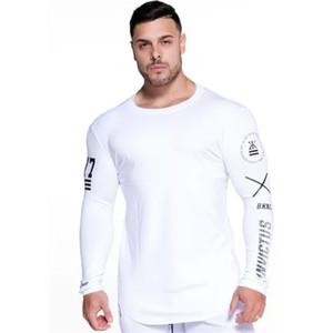 YEMEKE Moda de Alta-elasticidade Sporting T-shirt Dos Homens de Manga longa de Fitness T shirt dos homens sólidos gyms Musculação T-shirt Tee