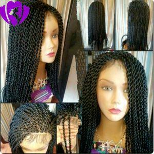 10-30inches долго сенегальский твист полный парик черный / коричневый / блондин Цвет Синтетический фронта шнурка парик Afro Twist кос парики Черный Женщины