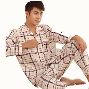 Conjuntos de pijamas gruesos en las habitaciones Pijamas de manga larga de algodón de alta calidad para hombres, además de fertilizantes para aumentar los pijamas para jóvenes en casa S07