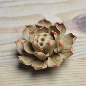Orificio único Línea de cerámica Quemador de incienso Flores de loto Incensario incensario Suministros budistas Jingdezhen W $