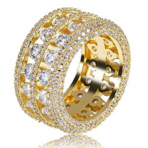 Hip Hop masculino 2 filas Tennis Cobre Zirconia cúbica Anillos Pave Micro CZ Diamantes Hueco anillo Oro Plata Color punk Party Jewelry