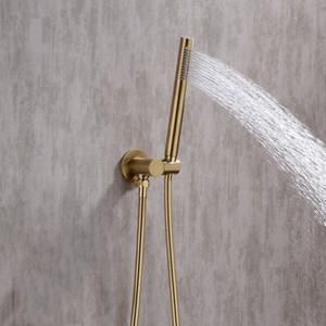 숨겨진 벽 마운트 샤워 꼭지 세트 임베디드 샤워 믹서 vlave 휴대용 샤워 헤드, 검정과 솔질 골드