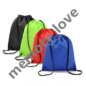 Solid Color Drawstring Backpack with grommet corners Polyester Candy colors bag kids clothes shoes Backpacks Sport Gym bags
