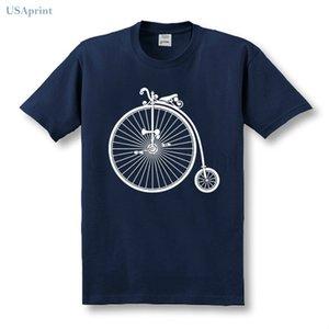 USAprint Summer Tshirt Cotton Graphic High Wheel Bicycle Impreso Camisetas Hombres Fresco Cómodo Camiseta de Manga Corta Top Tee Fitness