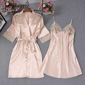 MECHCITIZ 2018 sexy women's pajamas lace flower pink silk robe & gown sets M L XL three size nighties bathrobe + night dress