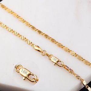 Collar de cadena plana de 2 mm para mujeres de los hombres de Hip Hop de oro 18k joyas colgantes encantos de la joyería Accesorios 16 18 20 22 24 pulgadas mayorista