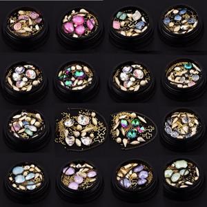 Nail Art Décoration Charme Gem Perles Strass Creux Shell Flake Flatback Rivet Mixte Brillant Brillant 3D DIY Accessoires