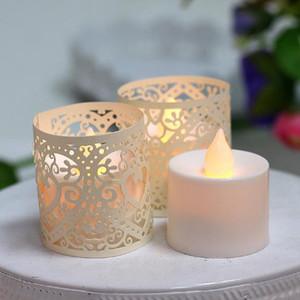 New Creative Hollow Pearl Paper LED Candle Shade Cover Light Romantico carta di pizzo candele elettroniche Decor paralume