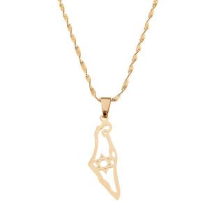 Нержавеющая сталь Израиль карта ожерелье гексаграмма Маген Давид ювелирные изделия Звезда Давида еврейские ювелирные изделия