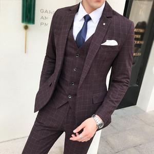 (Jacket+Pant+Vest) Men Wedding Suit Male Blazers Slim Fit Suits For Men Costume Business Formal Wear Party Dress 5XL-S