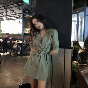 Free Shipping New Super Fire Women'S Double-Breasted A-Line Skirt Suit Collar Tie Waist Dress Casual Sweet Skirt Casual Dresses