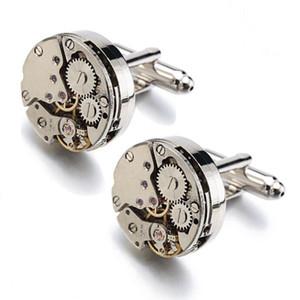 Watches movement cufflinks circular men cufflink French Cuff Links for wedding Father's day Christmas Gift Stylish Pattern Cufflinks