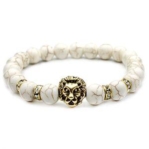 Lava Rock Beads Pulseras Moda Natural White Stone Domineering Lion Head Charm Jewelry Punk Longitud ajustable Brazalete VICHOK