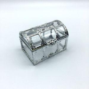 100 unids envío gratis top grade dorado plateado transparente cofre del tesoro de la boda cajas de regalo caja de dulces lin3736