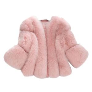 Inverno Engrossar Quente Flutuante Mulheres De Peles Rosa Falso Casaco De Pele 2018 Manga Comprida Feminina Plus Size Casaco Outwear Manteau Femme