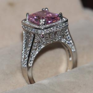 10CT Big Pink Sapphire luxe bijoux 14 kt or blanc rempli 192 PCS Pave minuscule zircone Diamond Party femmes bande de mariage bague pour cadeau d'amant