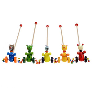 Baby Toys Cartoon Baby Coagent Toddler Bambino Mettere animali Puzzle di legno Trolley per bambini in legno di puzzle regalo
