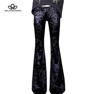 Bella Filosofía 2017 primavera retro silm de cintura alta flare terciopelo pantalones elásticos bragas vintage otoño pantalones largos