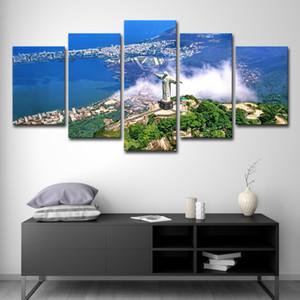 Toile HD Tirages Peintures Art Mural 5 Pièces Cristo Redentor Images Ville Vert Paysage Naturel Affiches Décor À La Maison