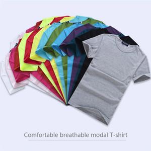 100pcs Ücretsiz Kargo Unisex Blank t gömlek Yuvarlak boyun Modal Pamuk T-shirt Erkekler İnce Tişörtler Kadın Kısa Kollu T Gömlek S-3XL