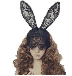 Cheveux Accessoires pour Femmes Fille Bande de Cheveux Dentelle Sexy Lapin Oreilles Voile Partie Bandeau Coiffure Cheveux Ornement Halloween 3 pcs /