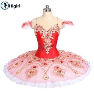 Mujeres Rojo Rosa La Corsaire Rendimiento tutú de ballet Ballet Vestuario teatral Gamzatti Profesional Tutús falda de bailarina BT9176