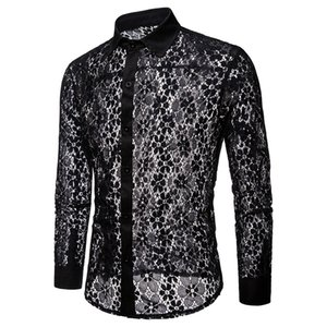 Camicie da uomo 2018Autumn New Fashion manica lunga da uomo di alta qualità Sexy Lace Mens Shirt Nero / bianco Mens Dress Shirts S-XXL