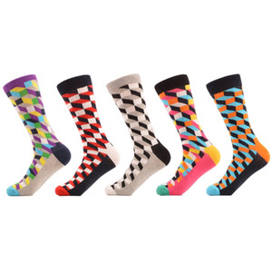 5 paia / lotto da uomo in cotone pettinato calzini multi colorato divertente modello casual calzini della squadra vestito da festa felice calzini pazzi