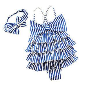Blue Striped Tiered Princess Girls Swimwear One Piece + Headband Baby Kids Ropa de natación Niños Trajes de baño Trajes de baño